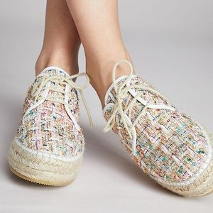 Anthropologie Tweed Espadrille Lace Up Sneakers
